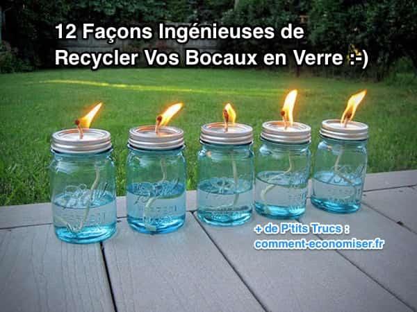 12 fa ons ing nieuses de recycler vos bocaux en verre. Black Bedroom Furniture Sets. Home Design Ideas