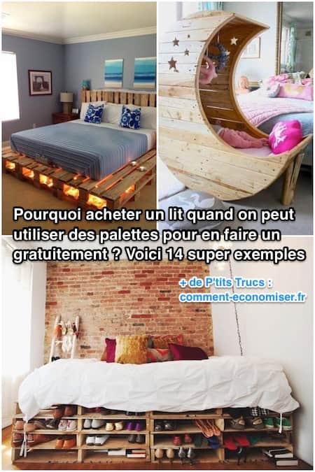 pourquoi acheter un lit quand on peut utiliser des palettes pour en faire un gratuitement. Black Bedroom Furniture Sets. Home Design Ideas