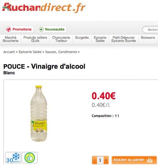 Prix du vinaigre blanc notre comparatif par supermarch - Prix du fuel auchan ...