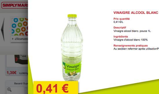 prix du vinaigre blanc : notre comparatif par supermarché.