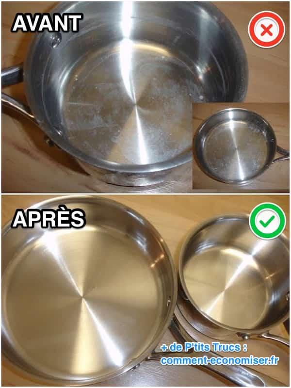 l astuce magique pour enlever le calcaire dans une casserole avec du vinaigre blanc