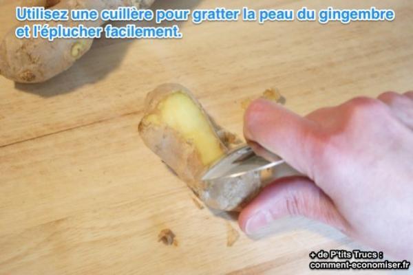 l'astuce toute simple pour Éplucher le gingembre facilement.