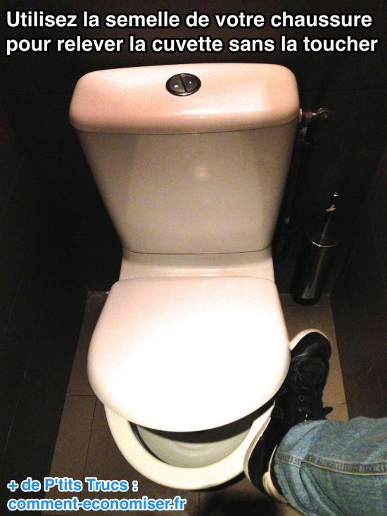 l 39 astuce pour relever la cuvette des toilettes sans la toucher. Black Bedroom Furniture Sets. Home Design Ideas