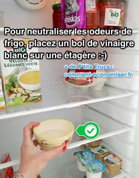 l 39 astuce pour neutraliser les odeurs du frigo avec du vinaigre blanc. Black Bedroom Furniture Sets. Home Design Ideas