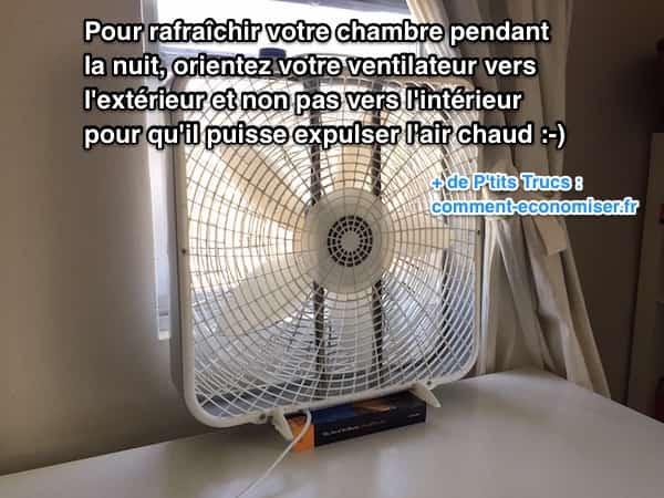 Pour rafraîchir chambre la nuit, orientez ventilateur vers l'extérieur