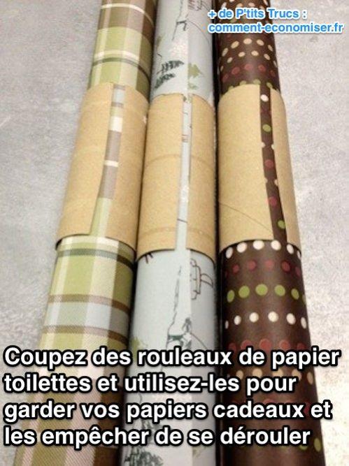 L 39 astuce pour ranger facilement les rouleaux de papier cadeau - Boite pour ranger les papiers ...