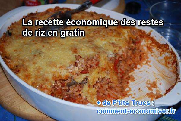 recette conomique les restes de riz en gratin. Black Bedroom Furniture Sets. Home Design Ideas