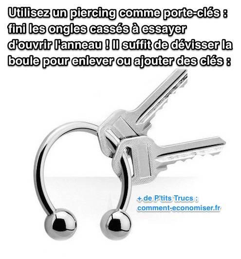 utilisez un piercing comme porte cl s fini de vous casser les ongles. Black Bedroom Furniture Sets. Home Design Ideas