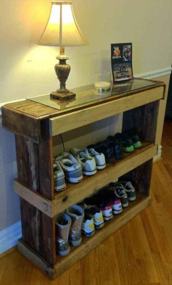 rangement chaussures avec palette