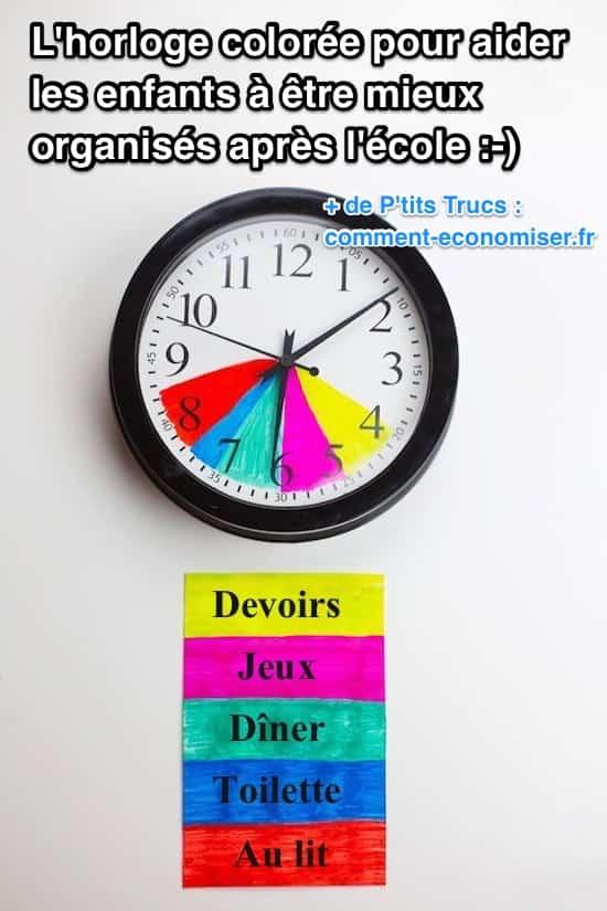 emploi du temps apr s l 39 cole l 39 horloge color e pour. Black Bedroom Furniture Sets. Home Design Ideas