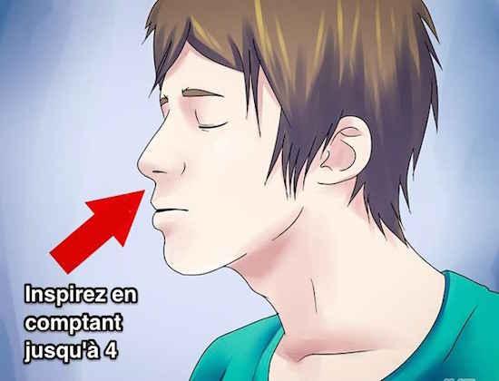 Inspirez l'air dans vos poumons pendant 4 secondes