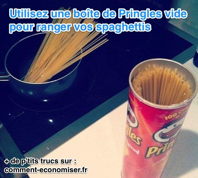une astuce pour ranger facilement vos spaghettis