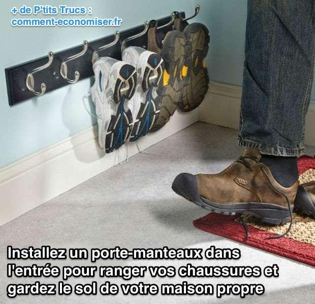 Installez un portemanteau dans l 39 entr e pour ranger vos - Astuce pour ranger les chaussures ...
